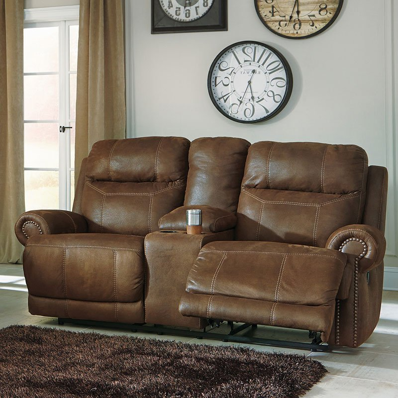 Austere Brown Double Reclining Loveseat W Console
