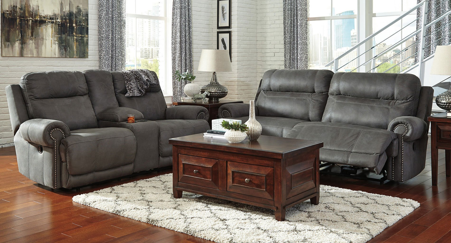 Austere Gray Reclining Living Room Set Living Room Sets