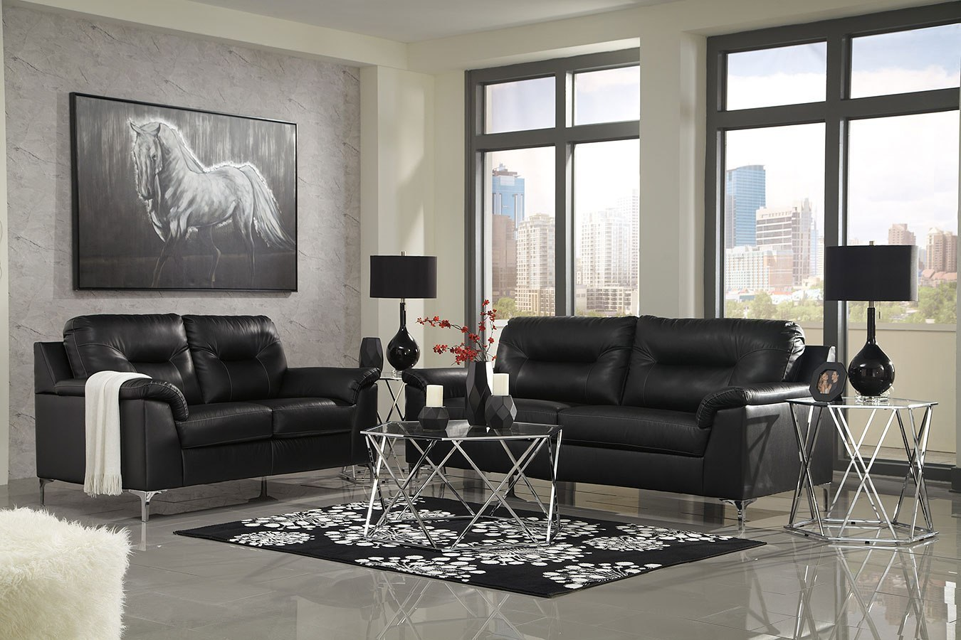 Tensas Black Living Room Set By Signature Design By Ashley