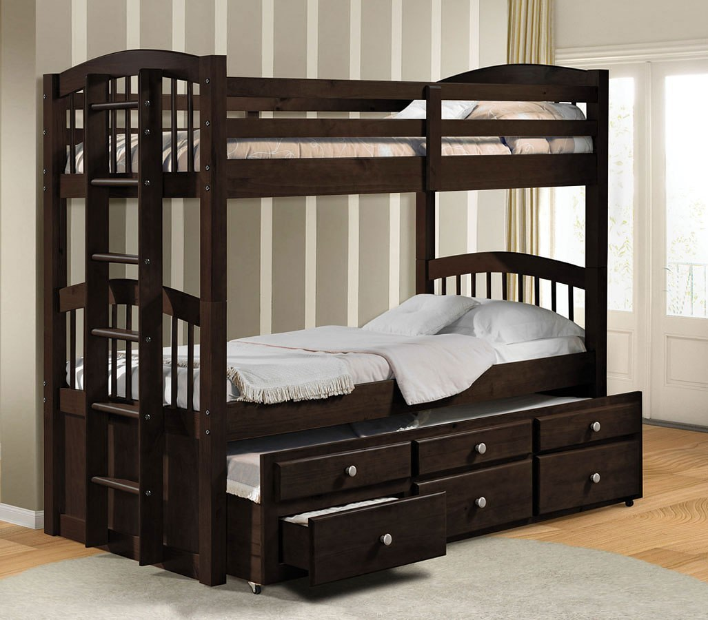 Micah Twin Bunk Bed W Trundle Espresso By Acme Furniture