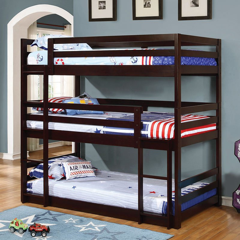 Cappuccino Triple Twin Bunk Bed Kids And Youth Furniture