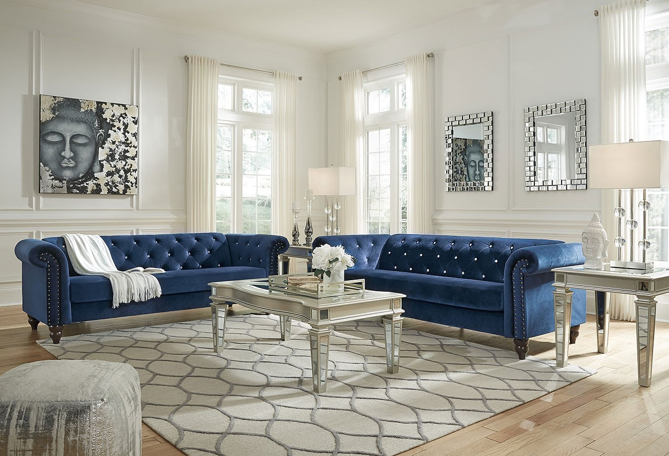 Malchin Navy Living Room Set By Signature Design By Ashley
