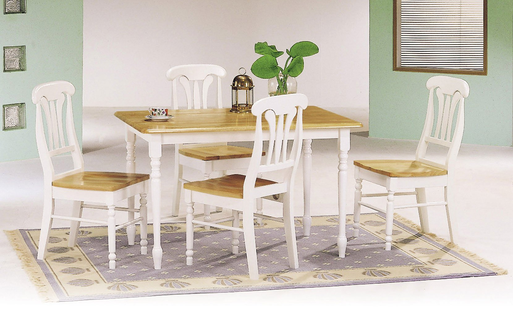 Damen rectangular dining room set w lyre back chairs for White casual dining table