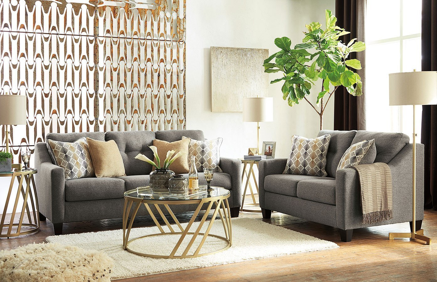 Daylon Graphite Living Room Set By Benchcraft Furniturepick