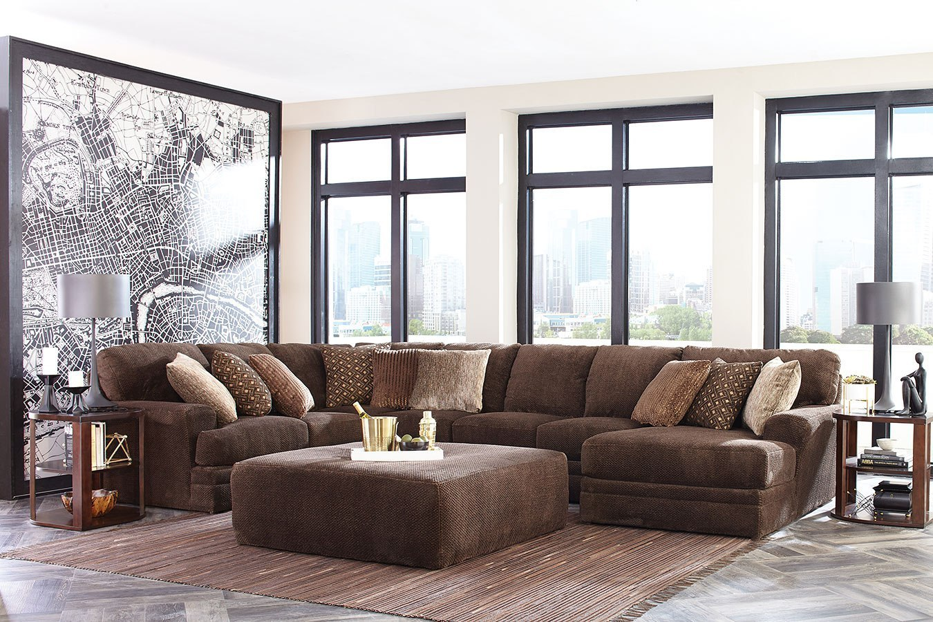 Mammoth Modular Sectional W Chaise Chocolate By Jackson