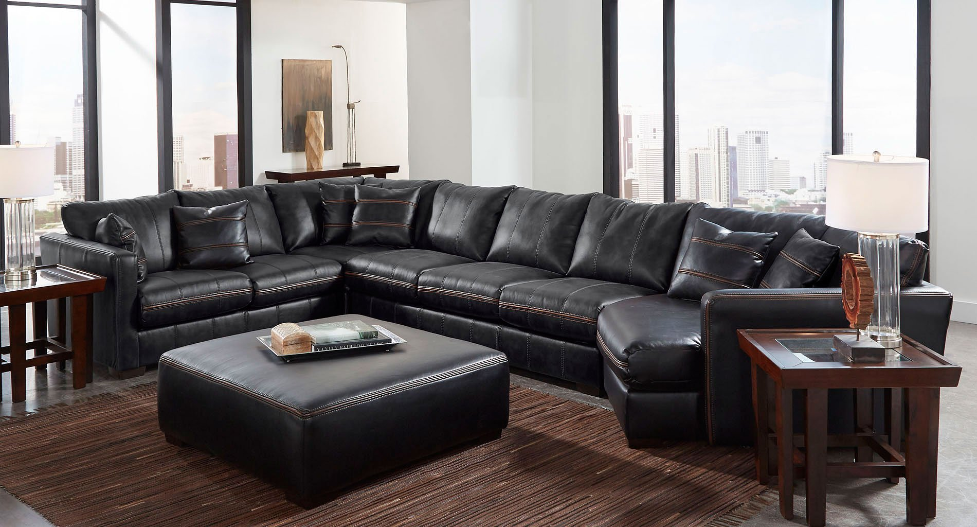Tucker Modular Sectional W Piano Wedge Black By Jackson