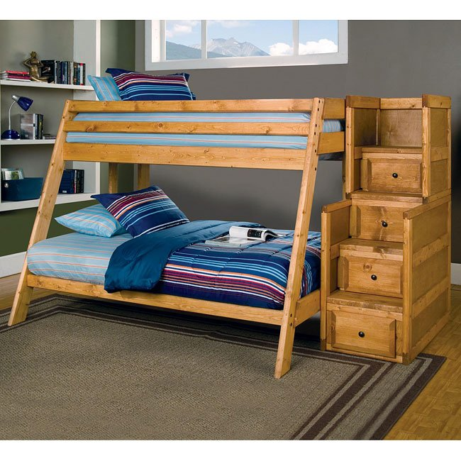 Wrangle Hill Twin Full Bunk Bed W Stairs By Coaster