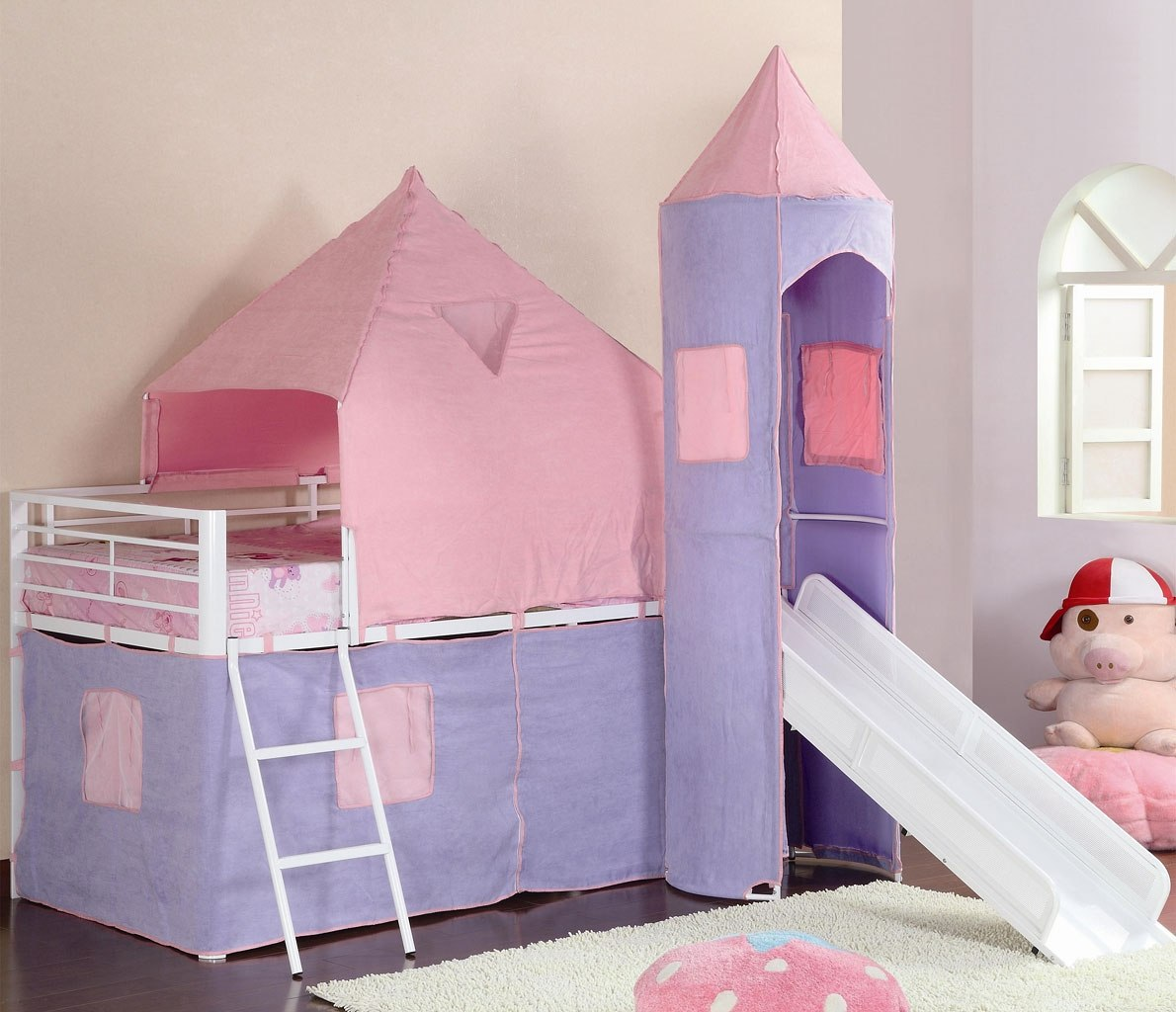 S Castle Pink And Purple Loft Bed
