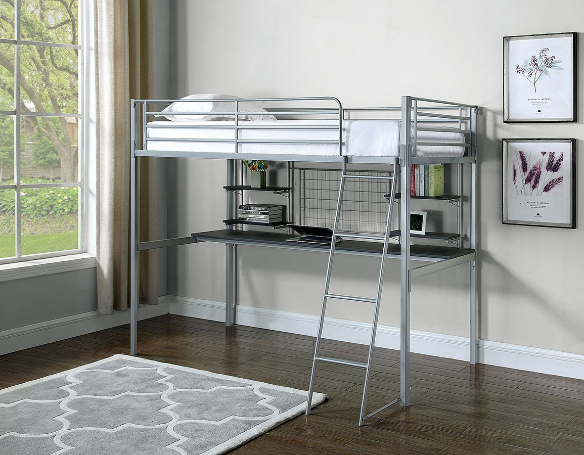 Admirable Boltzero Twin Workstation Loft Bed Silver Squirreltailoven Fun Painted Chair Ideas Images Squirreltailovenorg