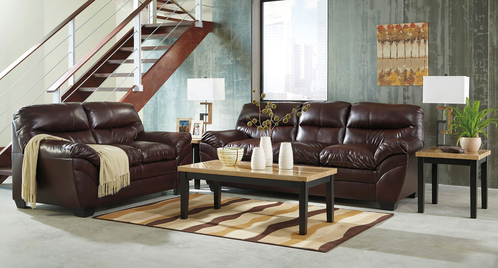 Tassler DuraBlend Mahogany Living Room Set By Signature