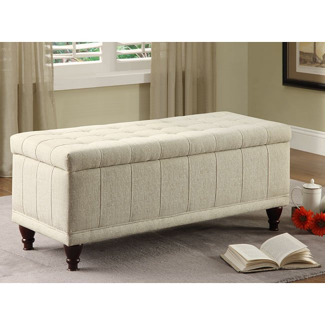 Afton Lift Top Cream Fabric Storage Bench Homelegance Furniturepick