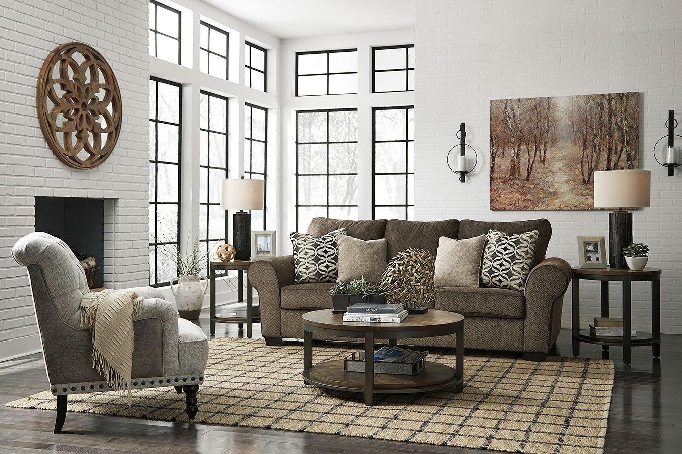 nesso walnut living room setbenchcraft  furniturepick