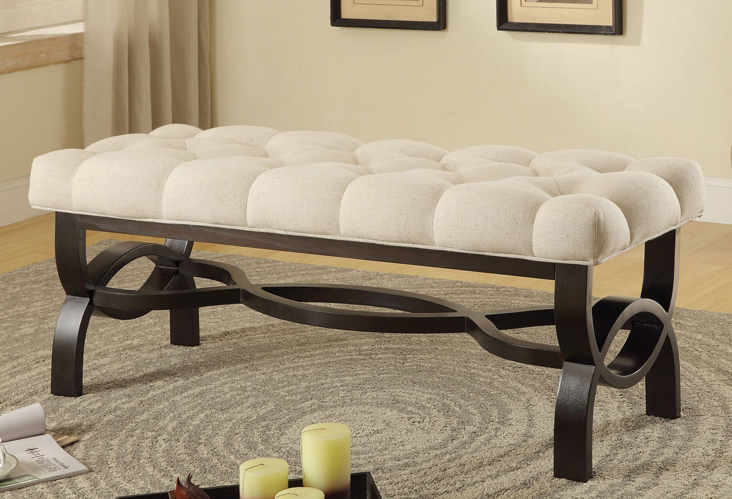 Small Bench W Tufted Seat By Coaster Furniture