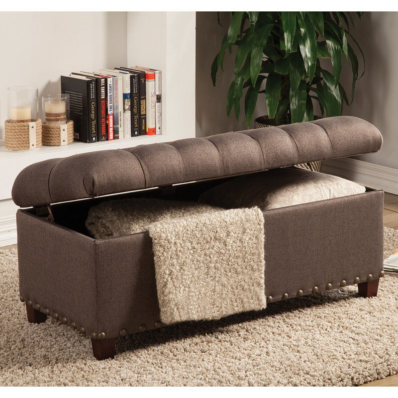 Mocha Storage Bench Ottoman By Coaster Furniture