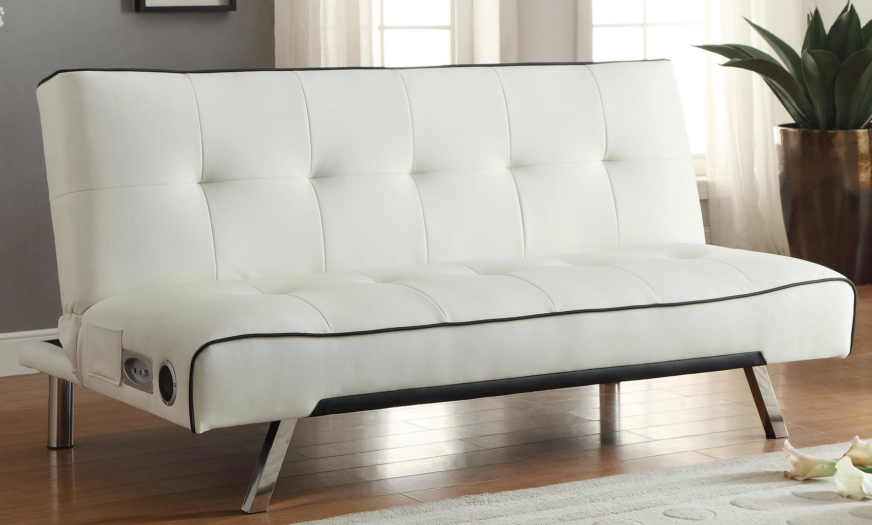 White Sofa Bed W Bluetooth Connectivity Futons Living Room Furniture Living Room