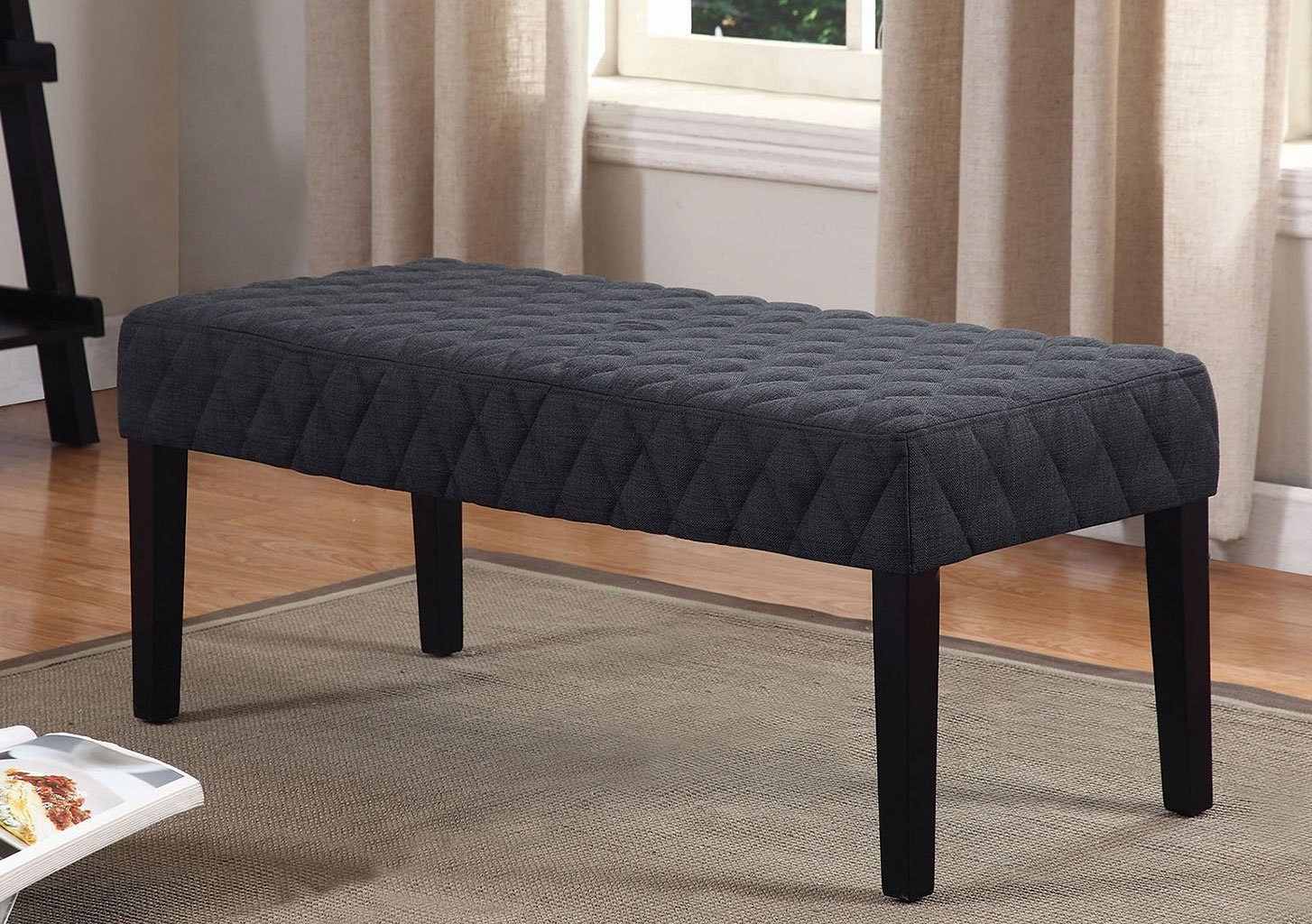 Quilted Fabric Bench Grey By Coaster Furniture