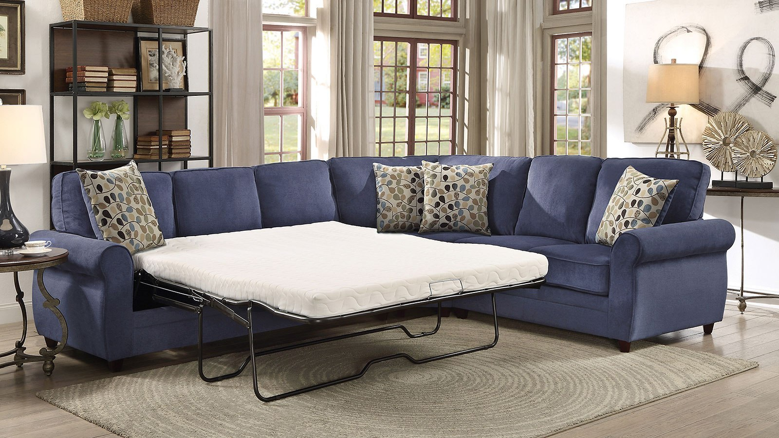 Kendrick Blue Sectional W Pull Out Sleeper