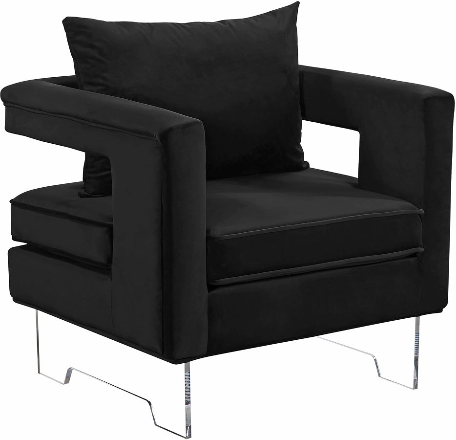 Carson Velvet Accent Chair Black By Meridian Furniture