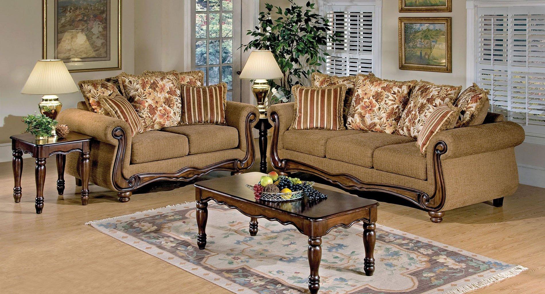 Olysseus Living Room Set Brown Floral Living Room Sets