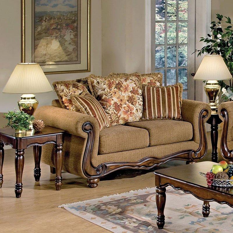 Olysseus Loveseat (Brown Floral) By Acme Furniture