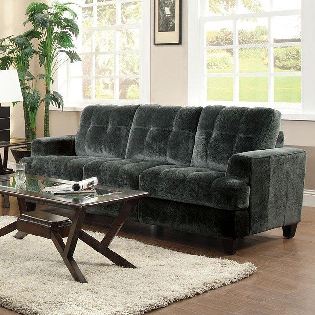 Charcoal Velvet Sofa: Hurley Velvet Sofa (Charcoal) Coaster Furniture