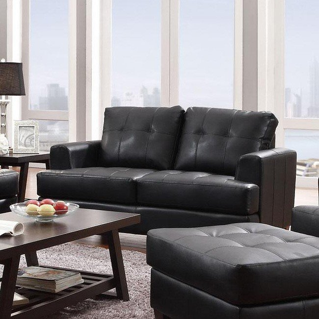 Hurley Living Room Set (Black) By Coaster Furniture
