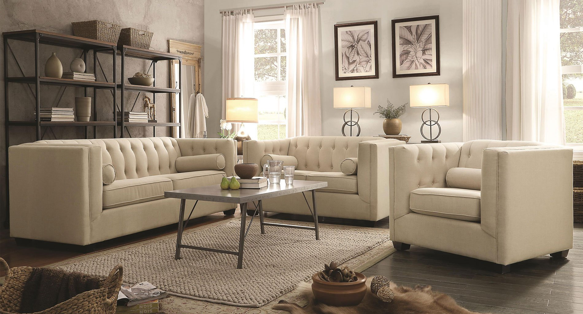 Living Room Furniture: Cairns Living Room Set (Oatmeal)