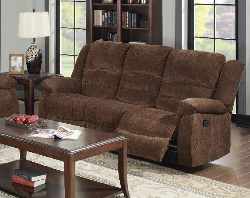 Bailey Reclining Sofa Dark Brown By Acme Furniture