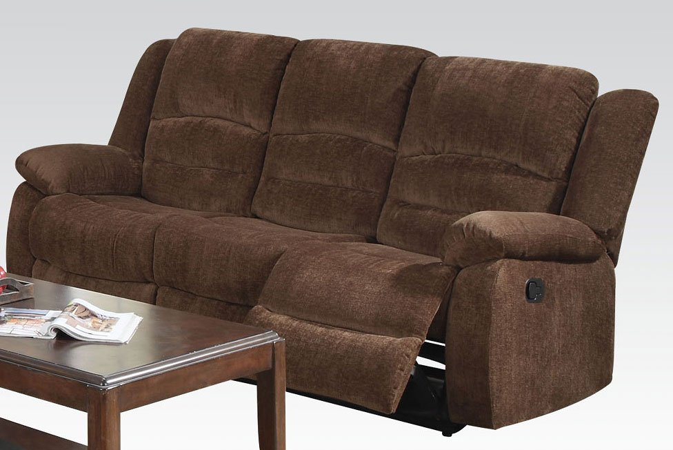 Bailey Reclining Sofa Dark Brown By Acme Furniture