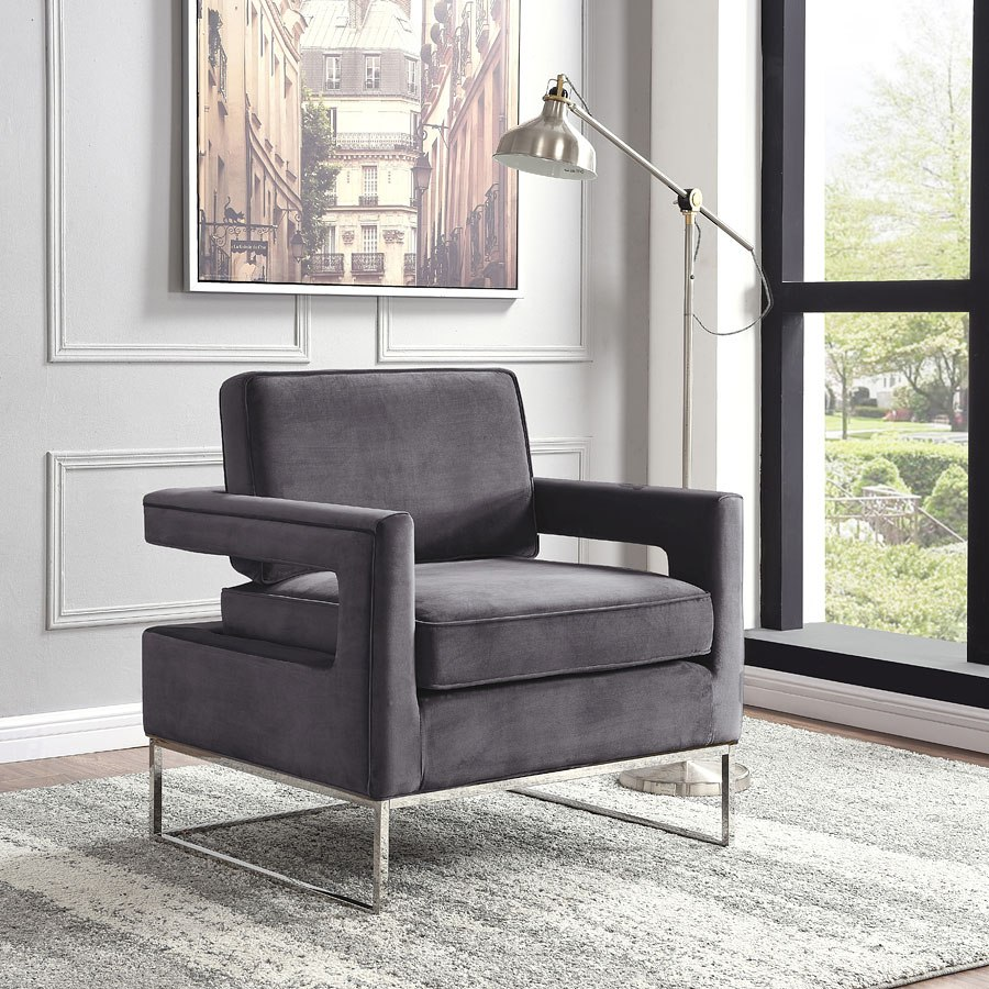 Noah Velvet Accent Chair Grey By Meridian Furniture