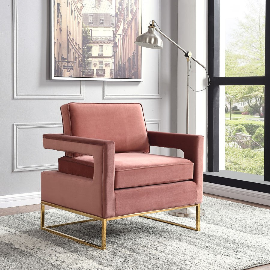 Noah velvet accent chair pink by meridian furniture furniturepick