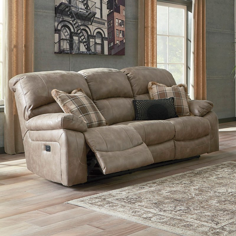 Dunwell Driftwood Power Reclining Sofa W Adjustable Headrest By