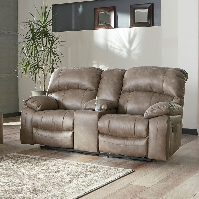 Dunwell Driftwood Power Reclining Loveseat W Adjustable Headrest By