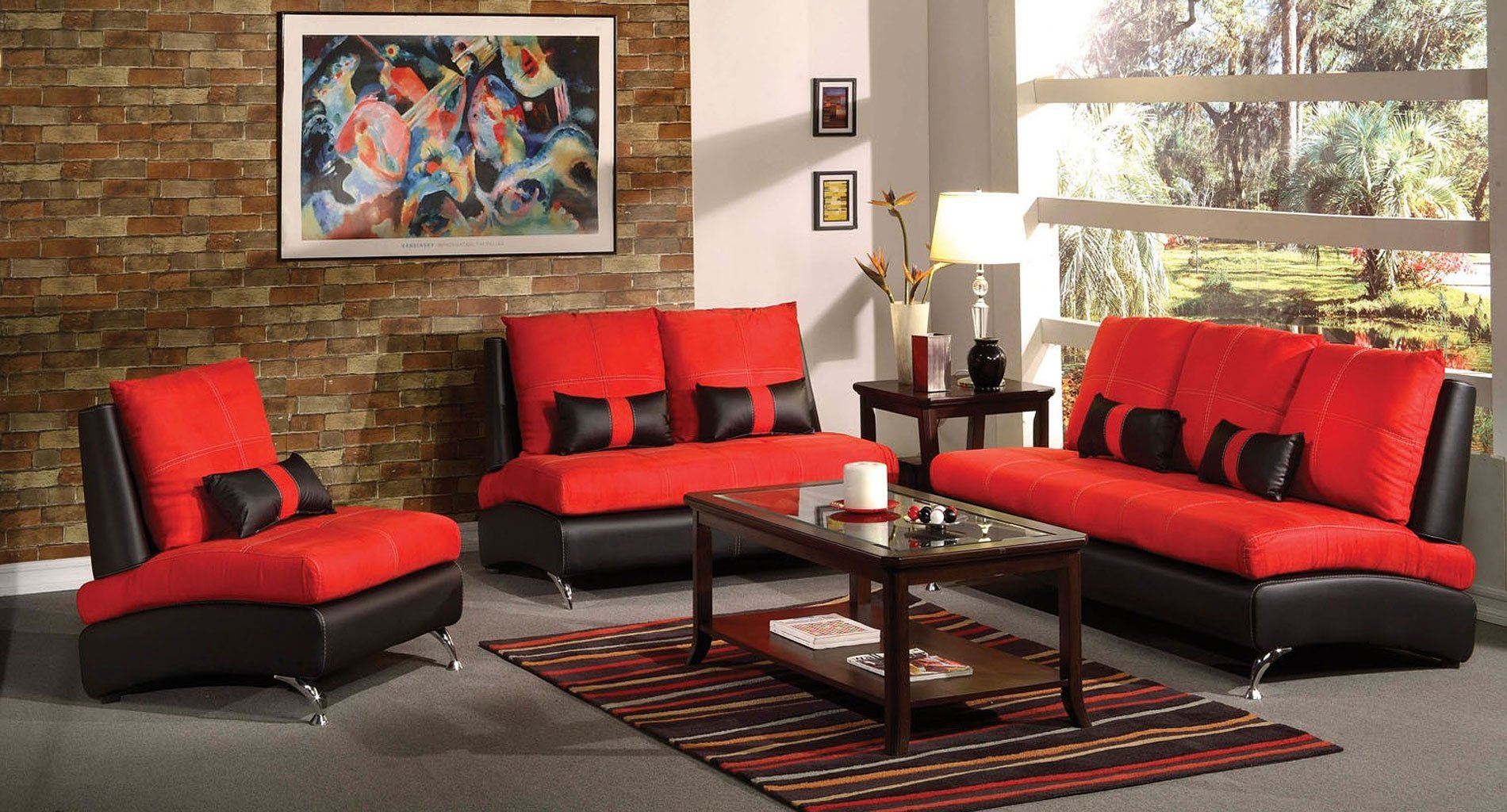 Jolie Living Room Set (Red And Black) By Acme Furniture
