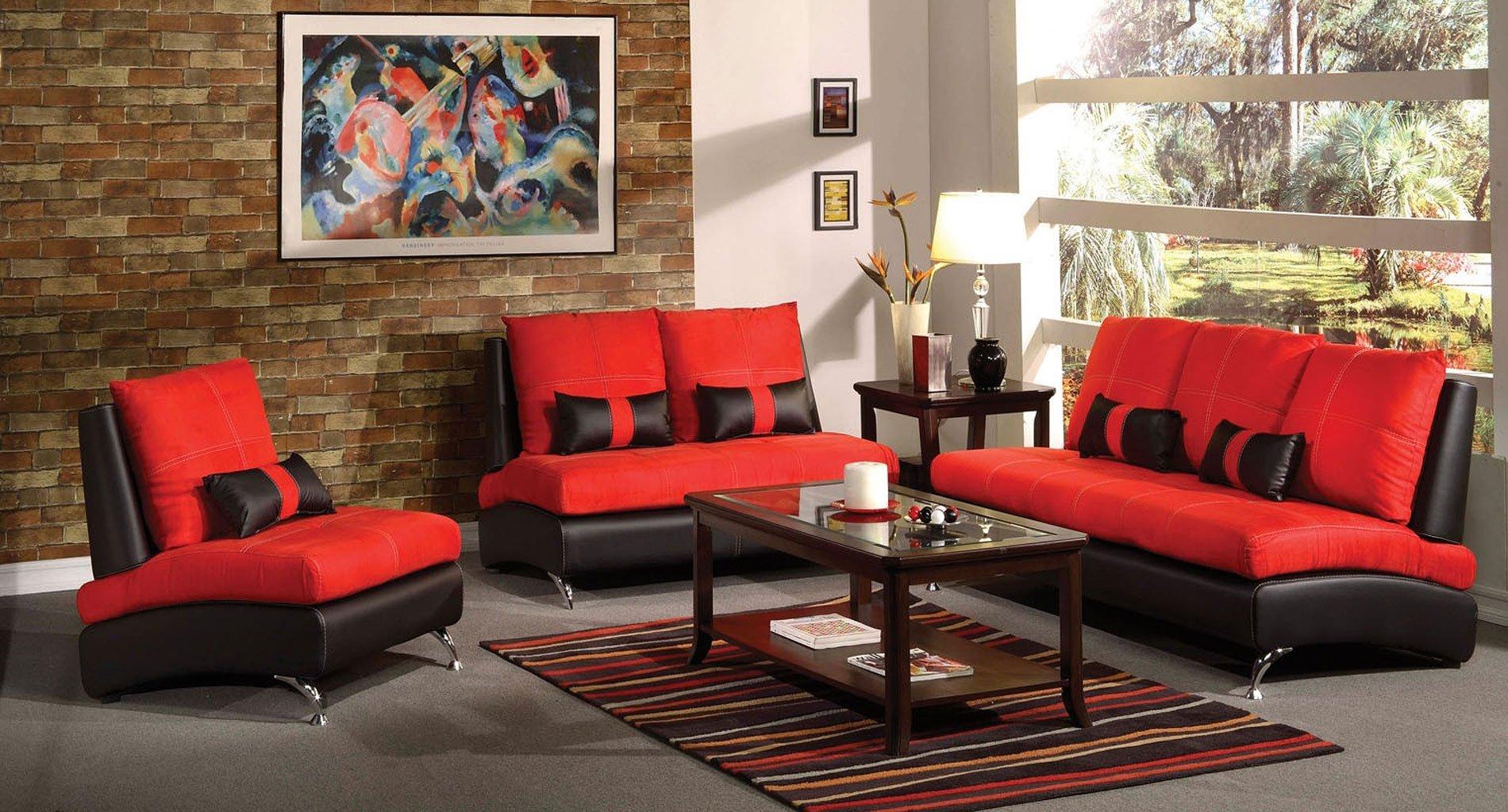 Jolie Living Room Set (Red and Black)