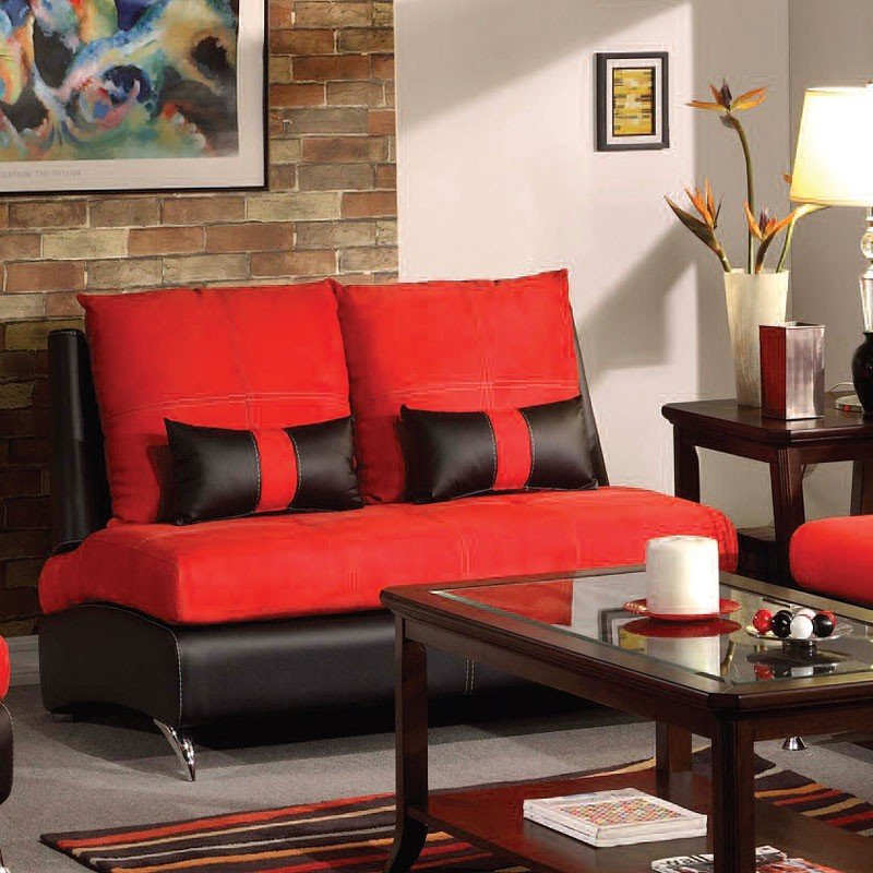 Jolie loveseat red and black loveseats living room for Black n red living room