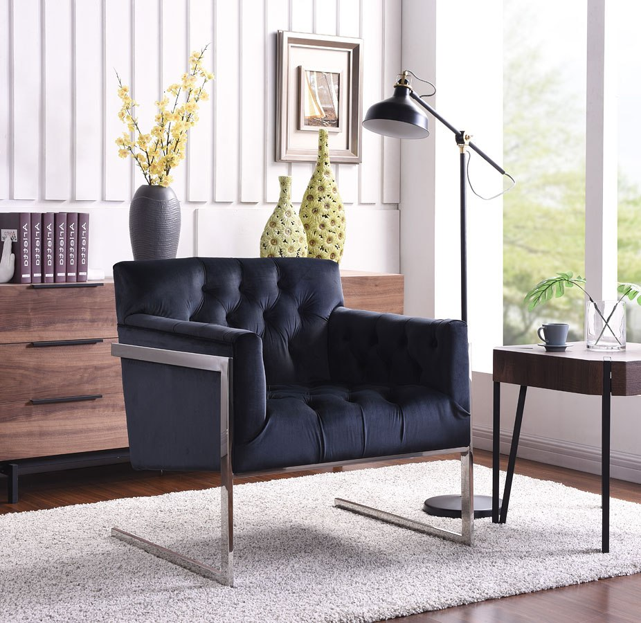 Riley Velvet Accent Chair Black By Meridian Furniture Furniturepick