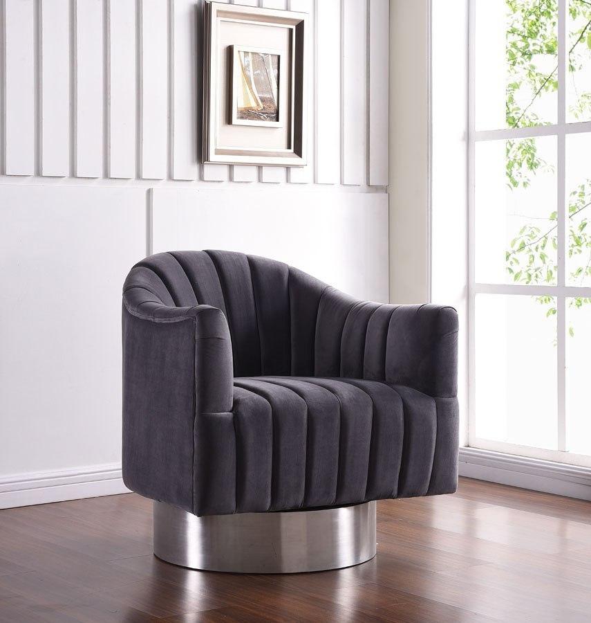 Farrah Velvet Accent Chair Grey By Meridian Furniture Furniturepick
