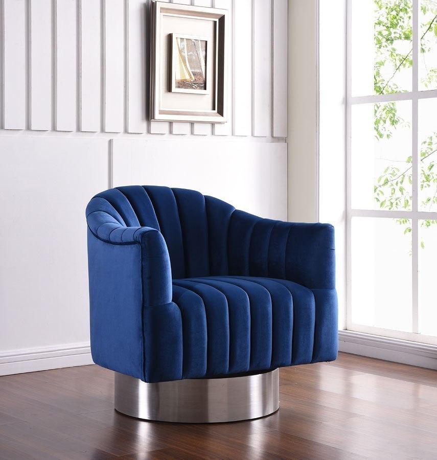 Farrah Velvet Accent Chair Navy By Meridian Furniture