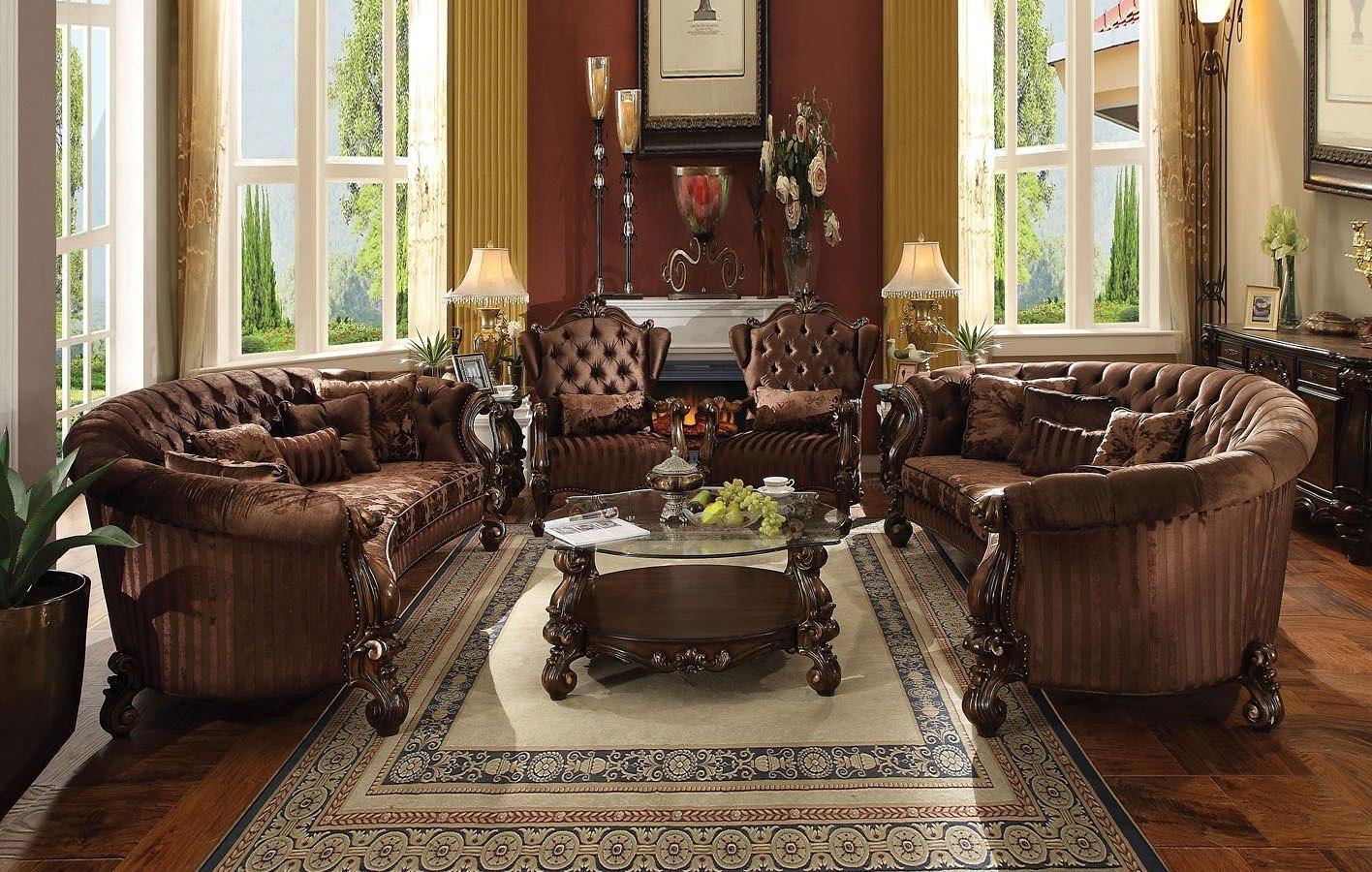 Versailles Crescent Living Room Set (Brown Velvet)