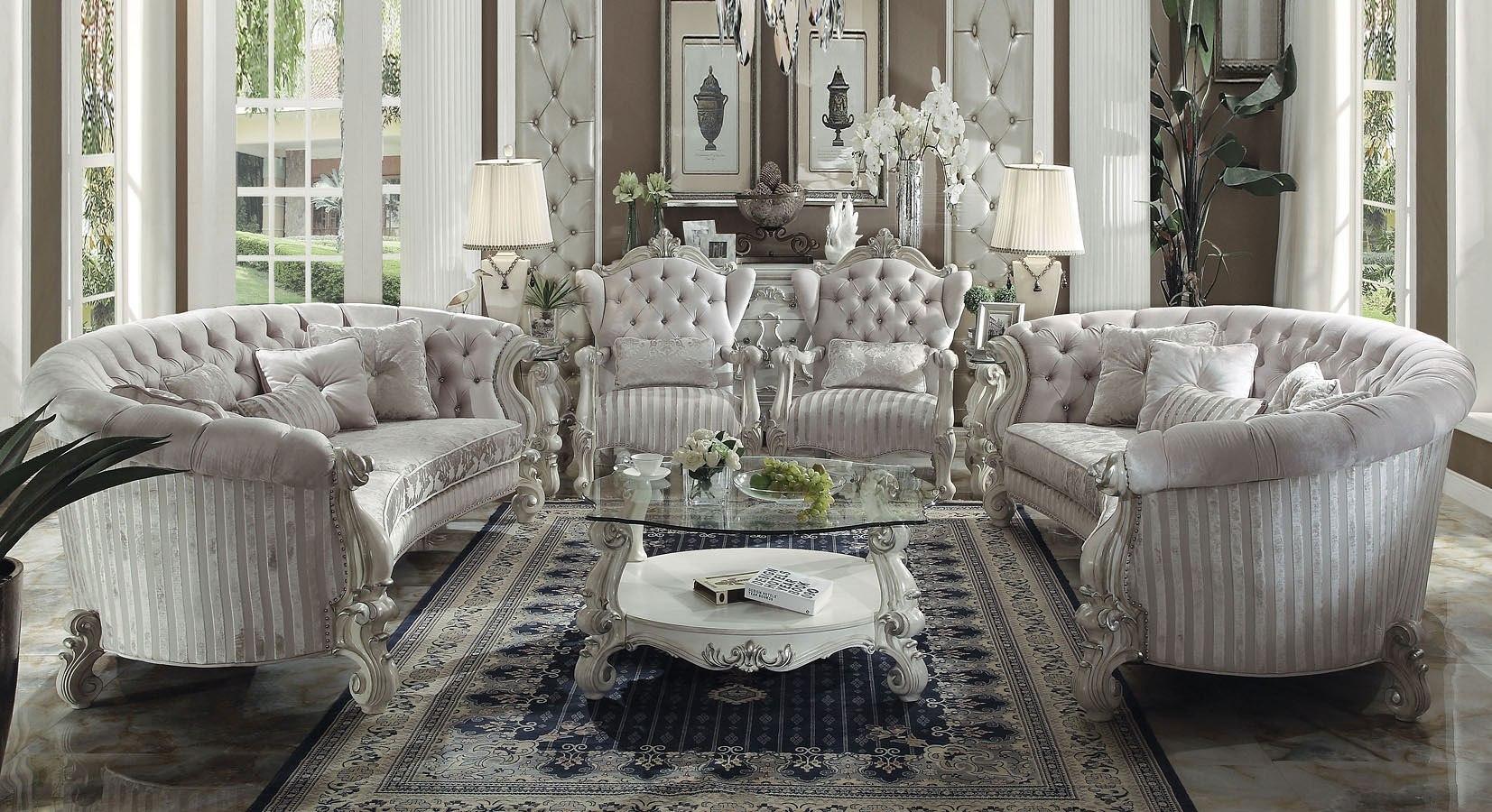 Lovely Versailles Crescent Living Room Set (Ivory Velvet)
