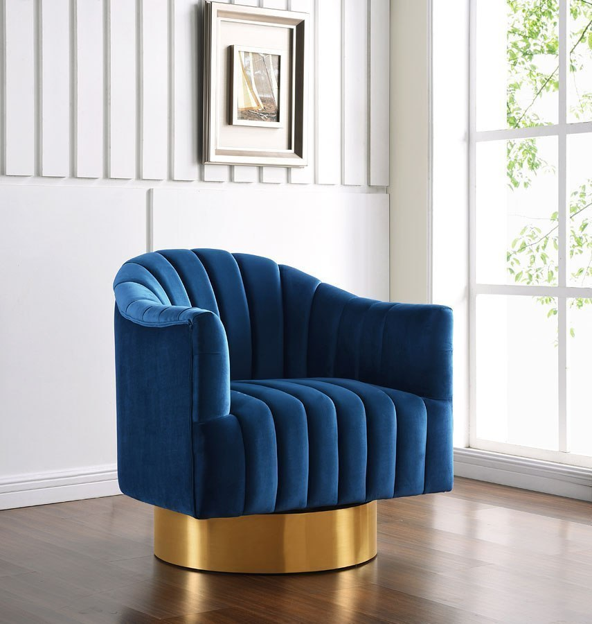 Farrah Velvet Accent Chair Navy By Meridian Furniture Furniturepick
