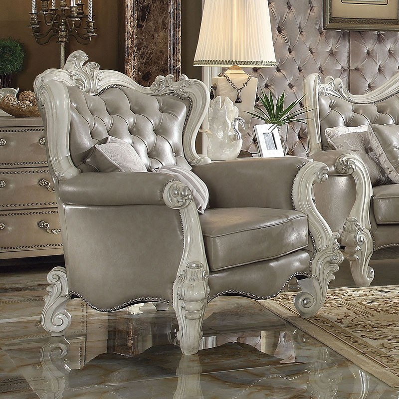 Versailles Chair Vintage Gray Pu By Acme Furniture