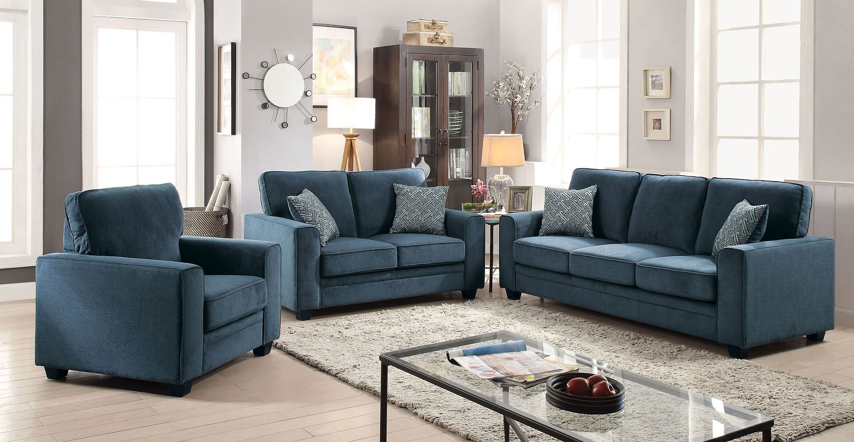 Catherine Living Room Set (Blue)