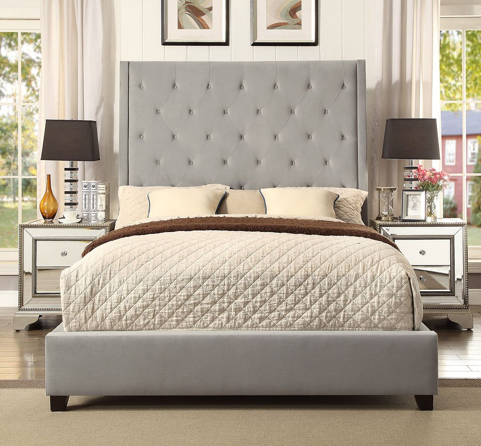 Reese Grey Blue Upholstered Bed