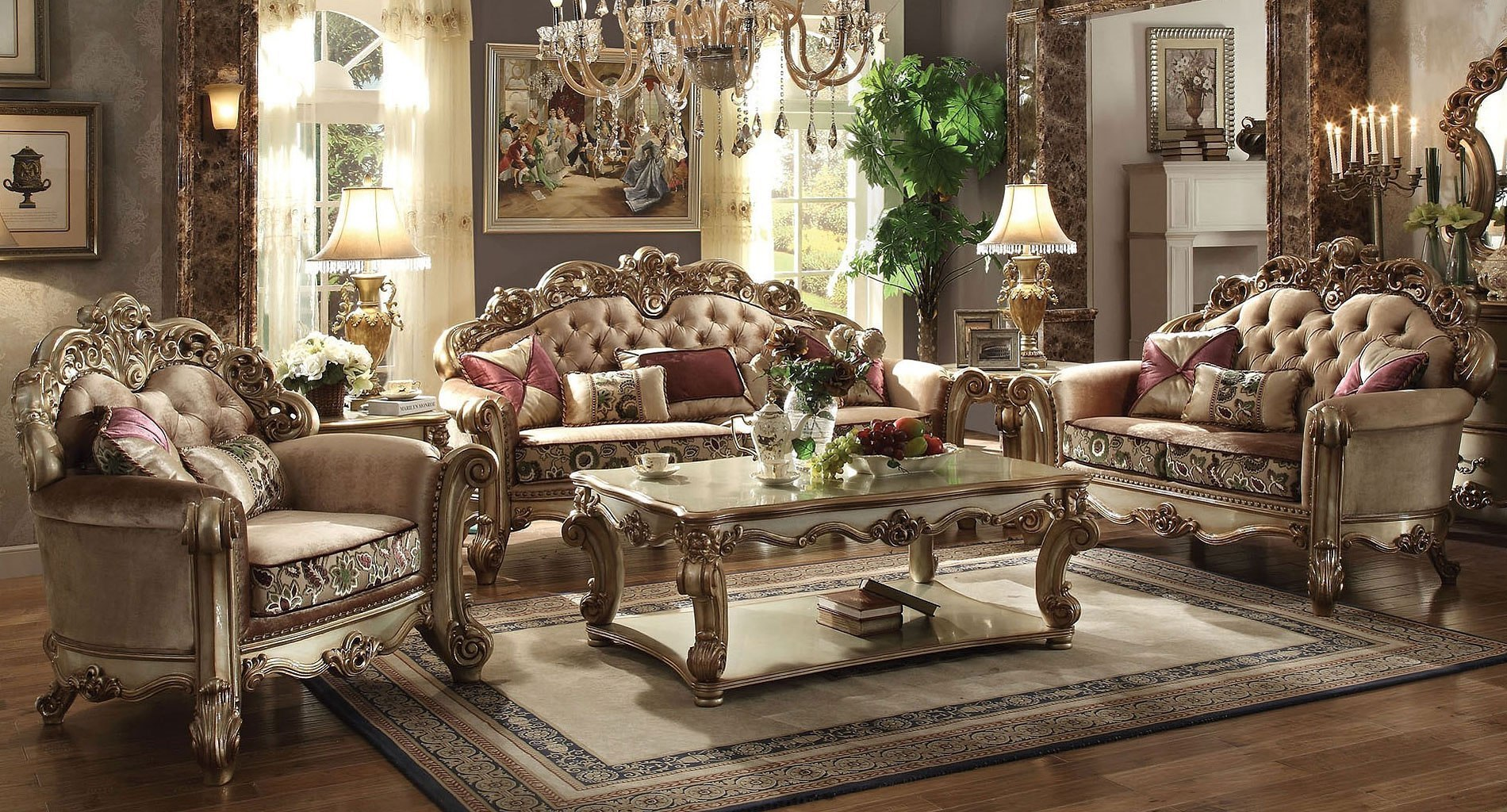 Vendome Living Room Set (Gold Patina / Bone Fabric)