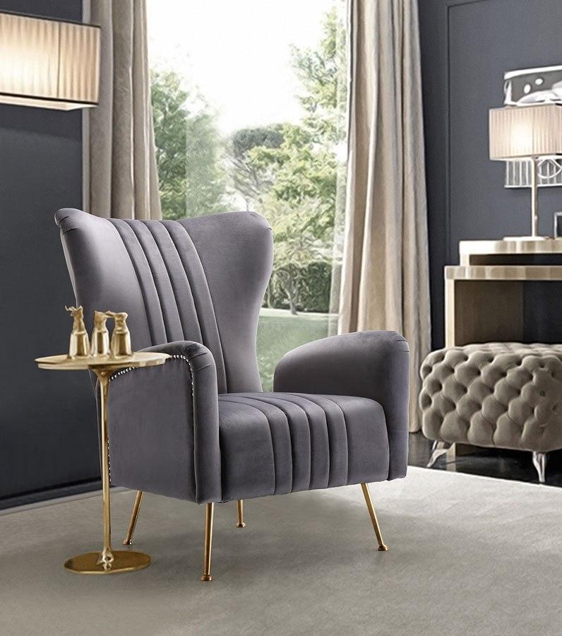 Opera Velvet Accent Chair Grey By Meridian Furniture Furniturepick