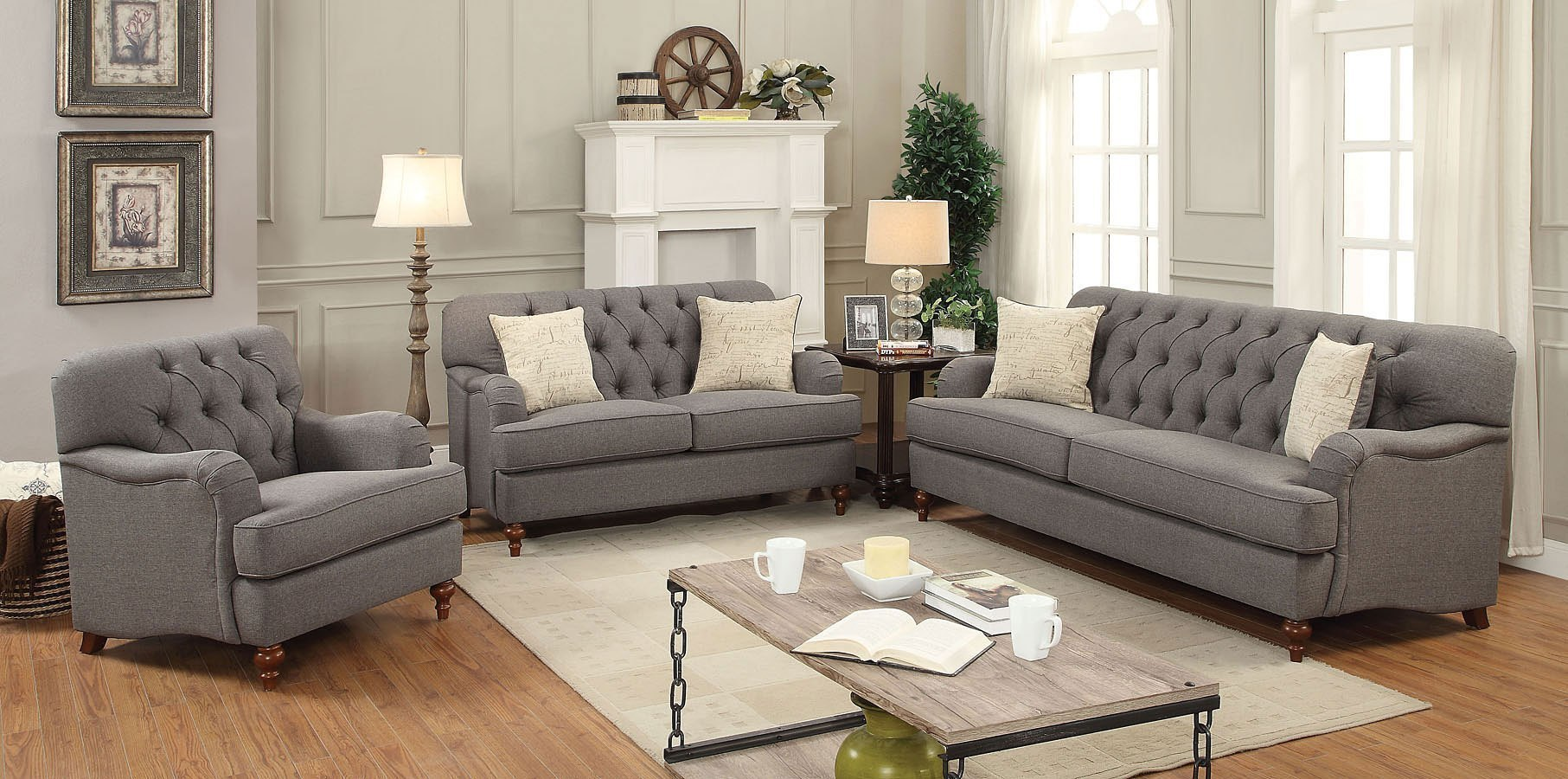 Alianza Living Room Set Dark Gray By Acme Furniture