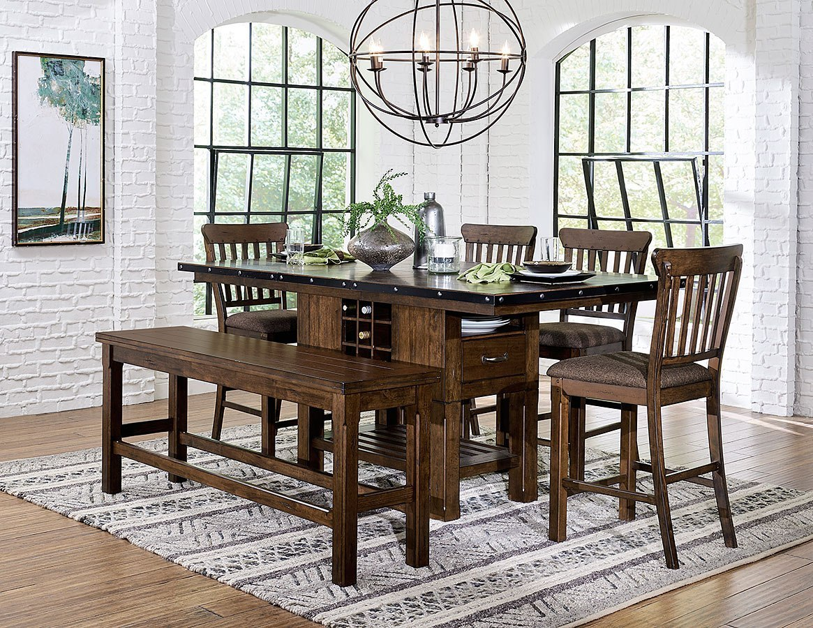 Schleiger Counter Height Dining Room Set W/ Bench By Homelegance