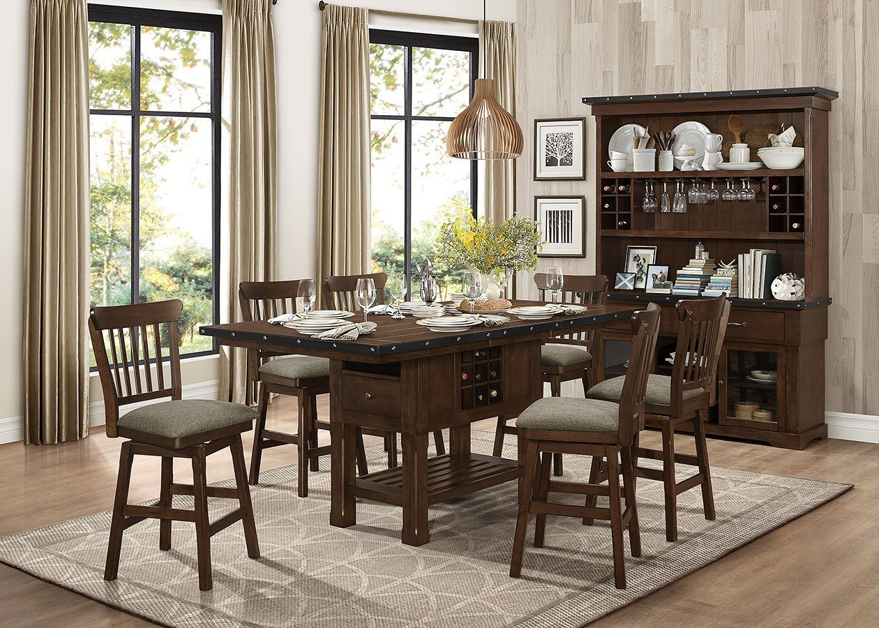 Schleiger Counter Height Dining Room Set W Swivel Chairs